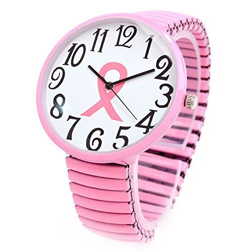 on Breast Cancer Awareness Stretch Band Watch (Ribbon Band Fashion Watch)