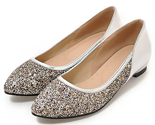 Idifu Womens Dressy Paillettes Basse Con Zeppa Nascoste All'interno Slip On Pumps Argento