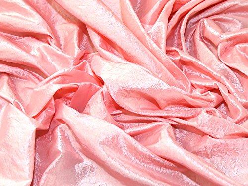 Crushed Textured Shot Taffeta Dress Fabric Baby Pink - per metre