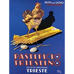 "CANVAS Italian Dried Spaghetti Pastificio Triestino Chicken, Kitchen art! Italy Pasta 16"" X 22"" Image Size Vintage Poster Reproduction ON CANVAS"