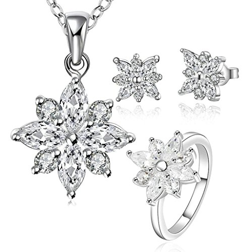 Chain Cap Anchor White (Alimab Silver Plated Womens Jewelry Sets Snowflake CZ Silver White)