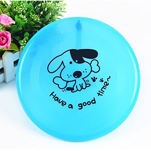 Dog Frisbee - Blue - Cute Pet Flying Disc, Tooth Resistant, Outdoor Training, Fetch Toy - 8'