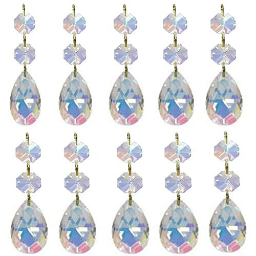 Little Desk 10Pcs Teardrop Crystal Chandelier Pendants Parts Glass Beads,Hanging Crystal Beads Chain Garland,Door Curtain,Home Decoration(38mm) (AB Colorful)