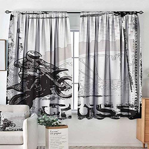 All of better Motorcycle Room Darkening Curtains Motocross Racer Image Grungy Background Poster Style Monochromic Artwork Print Patterned Drape for Glass Door 55