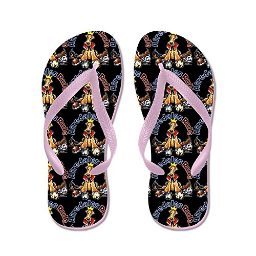 CafePress Airedales Rule Black - Flip Flops, Funny Thong Sandals, Beach Sandals Pink