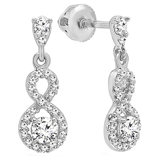 - Dazzlingrock Collection 0.40 Carat (ctw) 10K Round White Diamond Ladies Infinity Swirl Dangling Drop Earrings, White Gold
