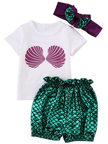 0-24M Newborn Baby Kids Girls Mermaid Tops+Pants Headband 3pcs Swimwear Outfits (90/12-18 M)