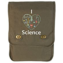 Dancing Participle I Heart Science Khaki Green Canvas Field Bag