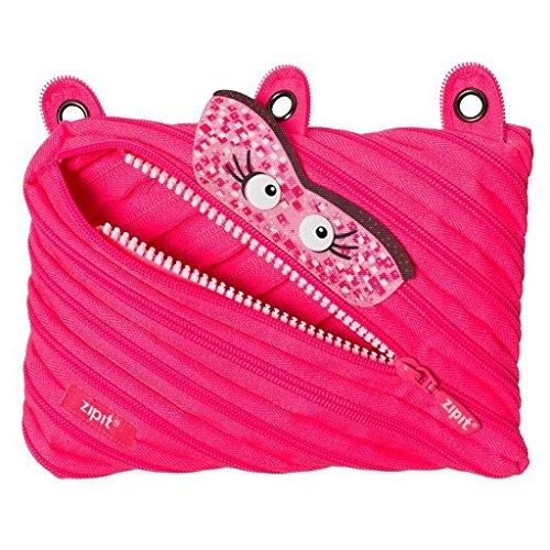 ZIPIT Talking Monstar 3-Ring Pencil Case, Pink