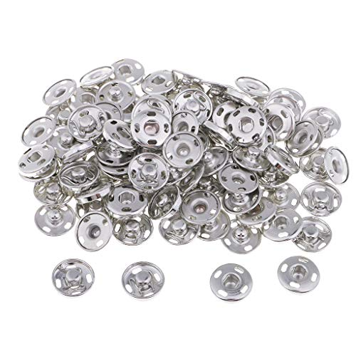 Prettyia 50 Sets Metal Snap Fastener Spring Press Studs Sew on Buckles for Clothing - 15mm