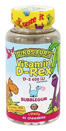 Kal Chewable Vitamins (Kal - Dinosaurs Vitamin D-Rex D-3 Bubblegum 400 IU - 90 Chewables)