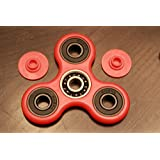 New EDC Fidget Spinner Ceramic Hand Toy w/ Caps, Premium Si3N4 Hybrid Ceramic Bearing,BS -Smooth Surface& Spin -TriSpinner Not 3DPrint (Red)