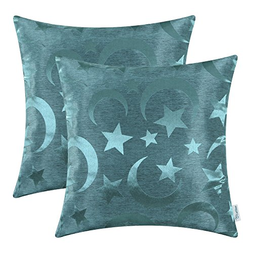 Pack of 2 CaliTime Throw Pillow Covers Cases for Couch Sofa Home Decor, Stars & Moon, 18 X 18 Inches, Teal