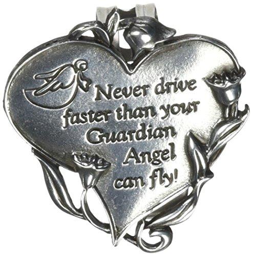 Guardian Pewter Angel Visor - Cathedral Art KVC330 Heart Visor Clip, Never Drive Faster, 2-3/4-Inch