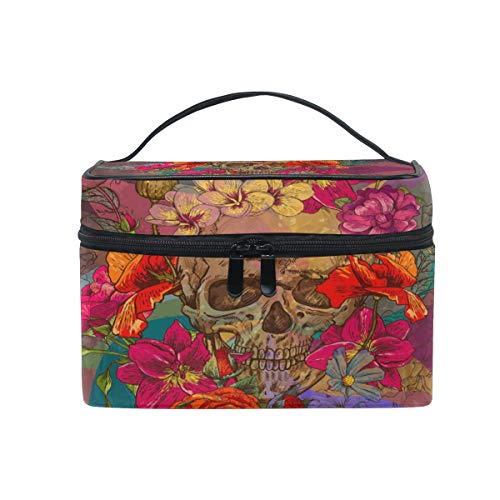 Travel Cosmetic Bag Skull Flower Toiletry Makeup Bag Pouch Tote Case Organizer Storage For Women Girls ()