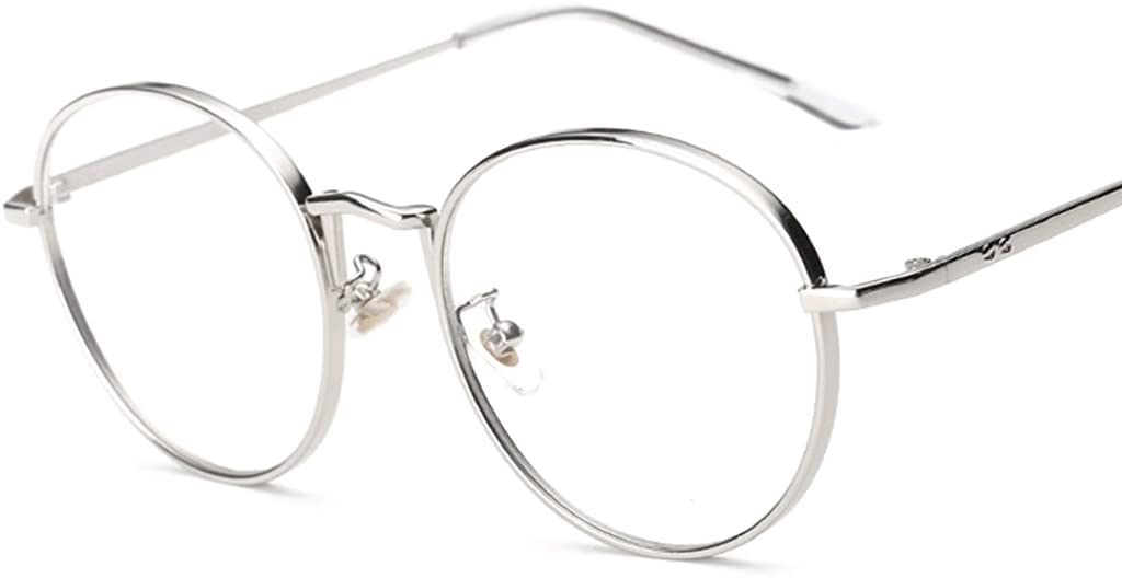 Fenteer Vintage Runde Brillenfassung Metallrahmen Brille Gl/äser Durchsichtig Nerdbrille