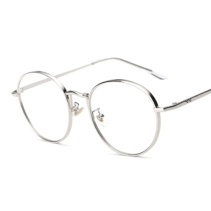 dbf781ed0c7 NF E Mens Women Use Lightweight Durable Oversized Classic Vintage Retro  Style Round Clear Lens Optical Eyeglasses Frame Silver  Amazon.in  Clothing    ...