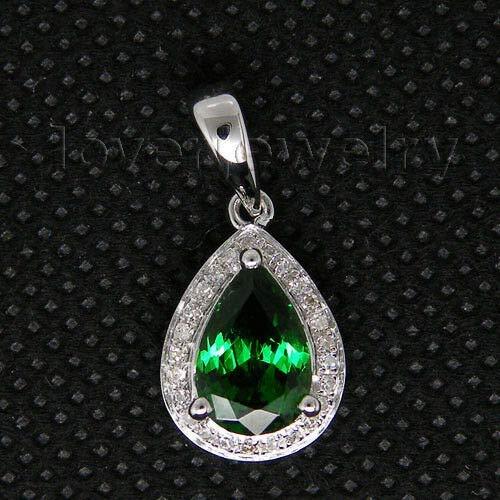 FidgetFidget Jewelry Sets Pear 6x8mm 18Kt White Gold Natural Green Tsavorite Pendant