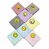 PET SHOW Pet Dog Bandanas Plaid with Emoji for Small Medium Large Dogs Bibs Triangle Head Scarfs Custome for Girls Boys Pack of 8