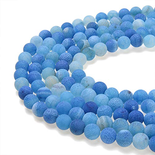 PLTbeads Gorgeous Blue Frosted Agate Natural Gemstone Loose Beads 8mm Matte Round Approxi 15.5 inch DIY Bracelet Necklace for Jewelry Making - Genuine Agate Stone