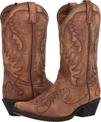 Laredo Mens Tan Cowboy Boots Leather Snip Toe 10 EW