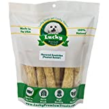 Lucky Premium Treats Peanut Butter Basted Rawhide Dog Treats for Medium Dogs Made in The USA Only, 10 Chews