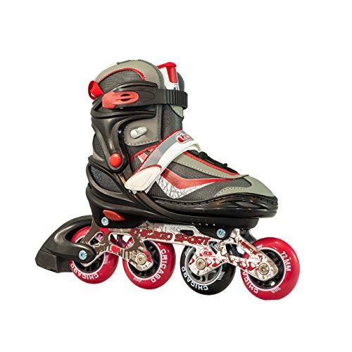 Chicago Skates Boys Crs 17 Adjustable in Line Skate, Red, Medium