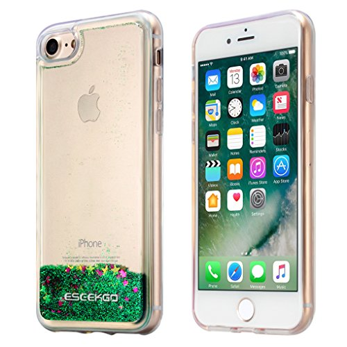 iPhone 7 / iPhone 8 Case, ESEEKGO Floating Glitter Case for iPhone 7/8,Sparkle Liquid Soft Cover TPU Bumper 3D Bling Case (Soft Liquid)