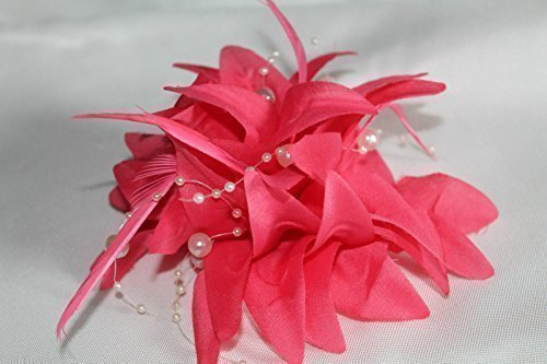 Corsage Stunning (Coral Pink stunning flower fascinator corsage & brooch for weddings ladies day the races & all your special events by Life Is Good)