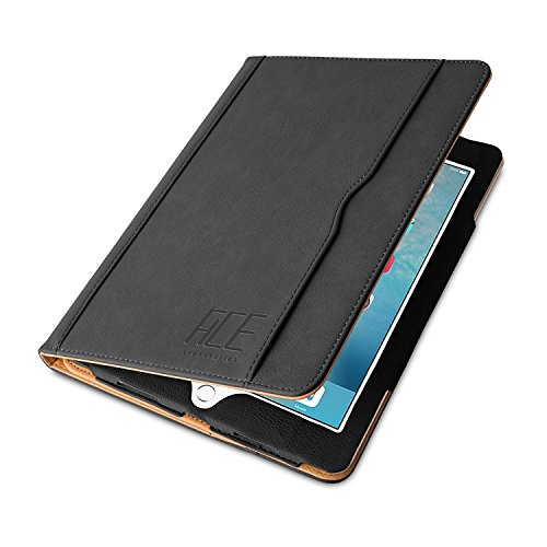 ACE-ACCESSORIES Original Luxury Tan Leather Flip Case for iPad Air 1st / 2nd Generation and 2017/2018 iPad in Black with Auto Sleep