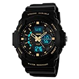 SKMEI 50M Waterproof Sport Watch Outdoor Mountaineering or Hiking Watches LED Digital Watch for Kids Children's Boy (Gold)