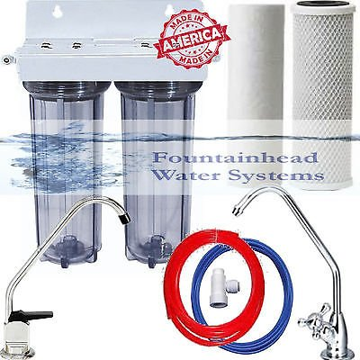 2 Stage Under Sink Drinking Water Clear Filtration System. Choice of Faucets. (Bar Filtration Faucet)