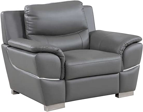 Blackjack Furniture 4572 Binion Collection Faux Leather Match Upholstered Modern Living Room, Accent Chair, Gray