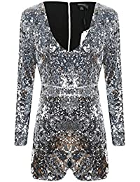 Women's Sparkly Sequin V Neck Long Sleeve Party Clubwear...