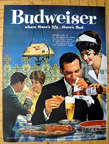 Retro Magazine Advertisement - 1961 Budweiser Beer-Pizza At A Restaurant -Original 13.5 * 10.5 Magazine Ad