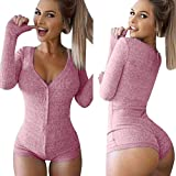 Moxeay Sexy V-neck One Piece Bodysuit Long Sleeve Bodycon Rompers (Large, Pink)