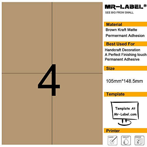 Kraft Laser Labels - Mr-Label® 4 Pcs Blank Kraft Labels –Self Adhesive Stickers for Gift Decoration|Hand craft| Finishing Touch (Size:105*148.5mm) (25 Sheets/100 pcs Label)
