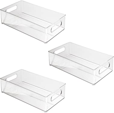 """'InterDesign Refrigerator and Freezer Storage Organizer Bins for Kitchen, 8"""" x 4"""" x 14.5"""", Set of 3, Clear' from the web at 'https://images-na.ssl-images-amazon.com/images/I/51NV02lIktL._AC_SY375_.jpg'"""