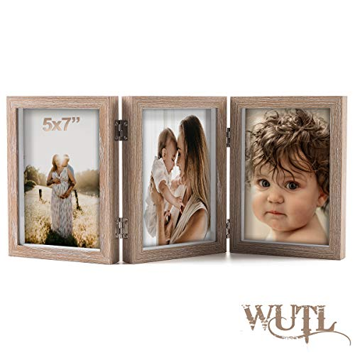 5x7 Triple Hinged Picture Frames Shadow Box MDF Wood Grain with Real Glass 3 Vertical Opening Family Lover Gift (3 Picture Frame 5x7)