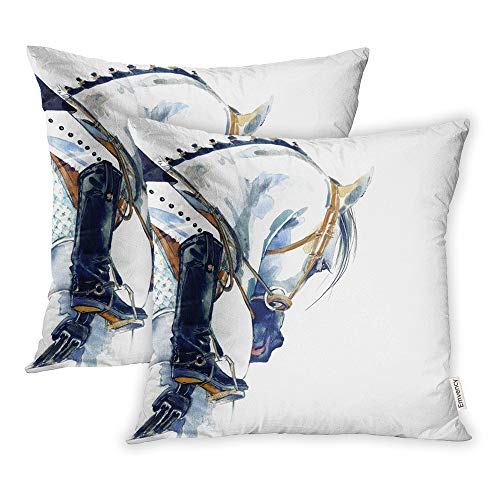 Throw Training Pillow (Emvency Set of 2 Throw Pillow Covers Print Polyester Zippered Dressage Equestrian Sport Horse Rider Watercolor Girl Pillowcase 18x18 Square Decor for Home Bed Couch Sofa)