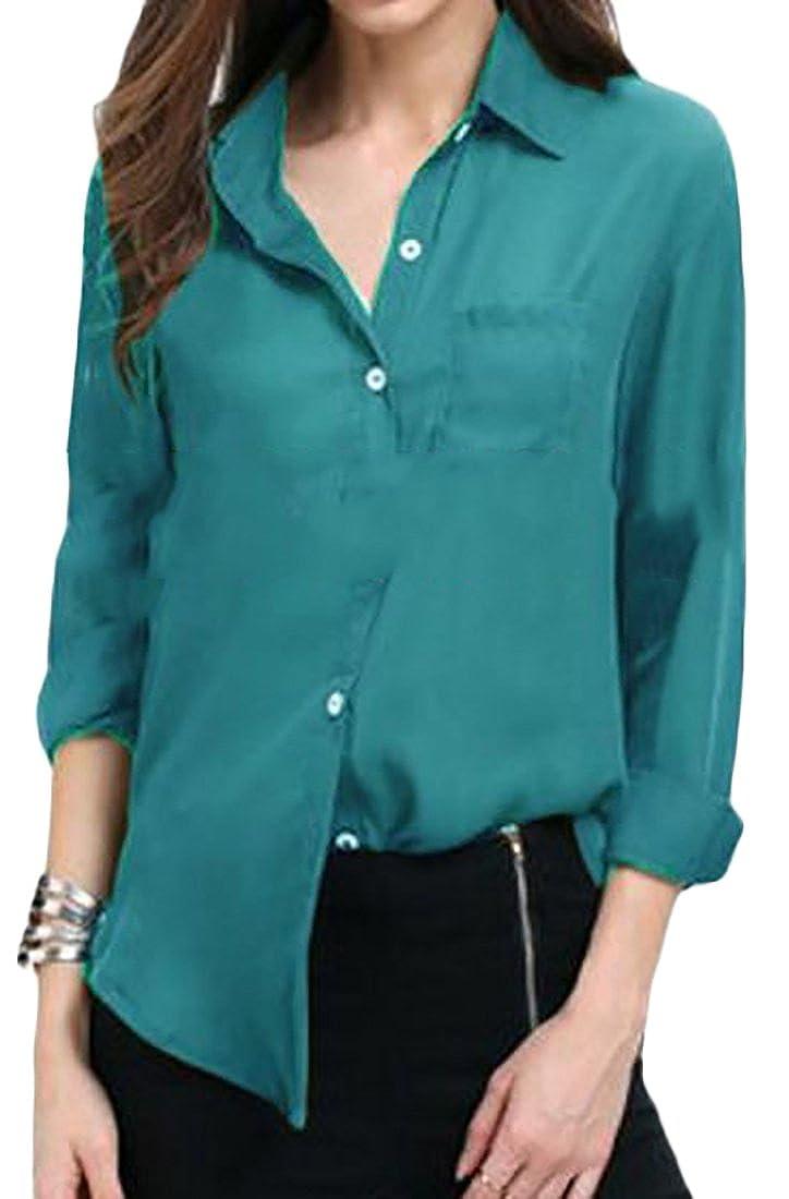 2d9897a66 Pandapang Womens Long Sleeve Loose Solid Autumn Chiffon Button Down Shirts  at Amazon Women's Clothing store: