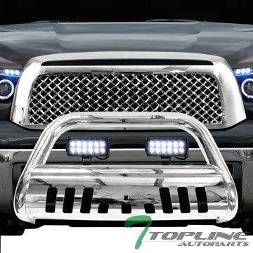 Amazon topline autopart polished stainless steel bull bar brush topline autopart polished stainless steel bull bar brush push bumper grill grille guard with skid plate aloadofball Image collections