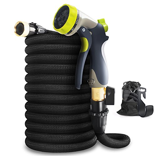 50ft Garden Hose - ALL NEW  Expandable Water Hose with Double Latex Core, 3/4' Solid Brass Fittings, Extra Strength Fabric - Flexible Expanding Hose with Metal 8 Function Spray Nozzle by Hospaip