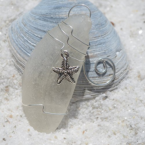 Custom Surf Tumbled Sea Glass Starfish Ornament - Choose Your Color Sea Glass Frosted, Green