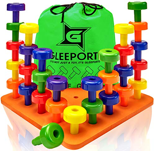 Gleeporte Stacking Peg Board Set Toy - Montessori Occupational Therapy Early Learning for Fine Motor Skills, Ideal for Toddlers and Preschooler, Includes 30 Plastic Pegs & 1 Board -