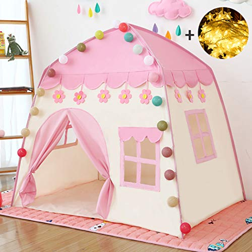 princess castle play tent Kids Teepee Tent Large Children Playhouse Oxford Fabric Children Playhouse for Indoor Outdoor with Carry Bag Portable Playhouse Boys & Girls Birthday Gift (flower pink)