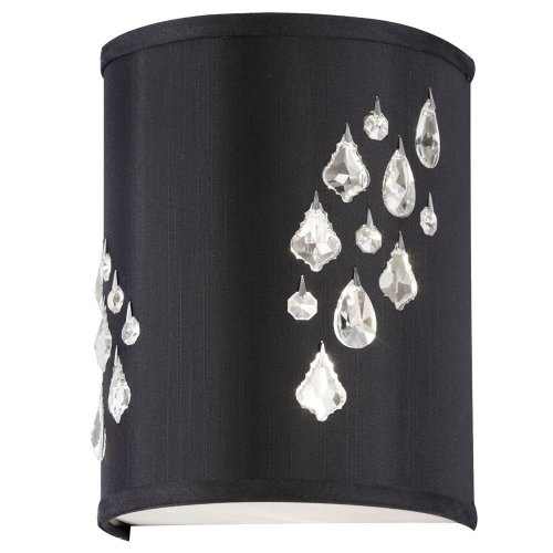 Dainolite Lighting RHI-8R-2W-694 Right Hand Facing 2-Light Wall Sconce with Crystal Accents, Black Baroness Fabric Finish