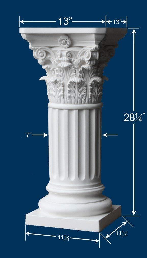 Off White Roman Corinthian Style Pedestal