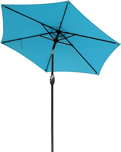Aok Garden 7.5 ft Outdoor Umbrella – Patio Table Market Umbrella with Push Button Tilt and Crank 6 Sturdy Aluminum Ribs for Deck, Lawn, Pool Backyard, Lake Blue