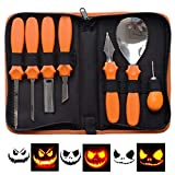 Halloween Professional Pumpkin Carving Tool Kit,Sturdy Stainless Steel Pumpkin Tools (7 Carving Tools/6 Pumpkin Carving Patterns) Easily Carve Sculpt Halloween Jack-O-Lanterns